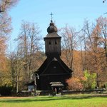 Exterior of the wooden church in the lower village