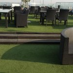 roof top artificial lawn and swimming pool