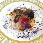 Carpacio de gambas y caviar