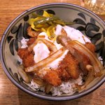 Mix Katsudon combination of katsudon (panko coated pork chop) and rbi katsudon. one large shrimp