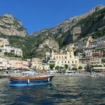 View of Positano on our boat ride to La Sirene