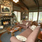 Main lodge--fireplace and sitting area