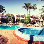 A panoramic shot of the superb pool area