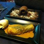 Postre: Strudel de pera y tarta de avellana