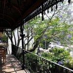 Relaxing on the verandah