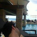 pool side overlooking ocean
