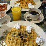 Blueberries wafels, coffee, orange juice...TOO EXPENSIVE!
