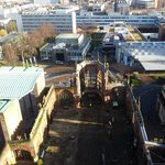 The remains of the old Coventry cathedral from its surviving tower