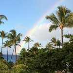 View of a morning rainbow from my room in the Maui wing