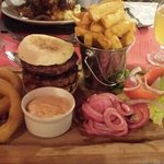 Lamb & Mint Burger with homemade onion rings, chips and side salad