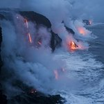 Minutes from real lava flow