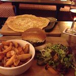 Gorgeous Cheese Burger & Chips with a side of cheesy garlic bread, lovely :)