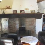 Our fireplace and sitting area