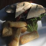 Caribbean chicken sandwich with fried yuca