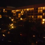 View of the hotel from our room at night