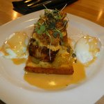 My meal was delish cornbread, topped w/pork belly, topped w/fried oysters, poached eggs on the s