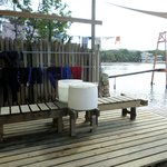 The Dive shop has direct access to the water on the deck.