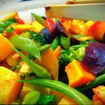 Roasted butter nut squash with sugar snaps, beetroot, broccoli, carrots and mint