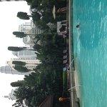 Вид из бассейна на башни близнецы