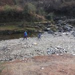 Busy finding stones at a water stream just 10min from the cottage..