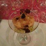 tartare de langoustine et oeuf restaurant gastronomique