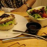 Yummy burger and Salad.