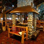 Warm and comfortable lodge lobby.  Many games are played around this fire (Bingo, trivia, etc).