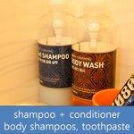 shampoo + conditioner, body shampoos, toothpaste