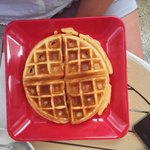 Freshly made waffle with real honey.  There are a lot of honey flavoured syrups used in Thailand