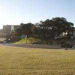 A view of the grassy knoll and the spot where JFK was assassinated.