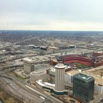 view from the arch. you can see inside busch stadium