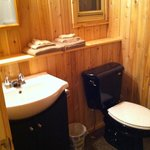 Clean washroom with newer tub and fixtures.