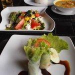 Vietnamese rolls and Greek salad