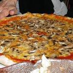 a veggie mushroom pizza
