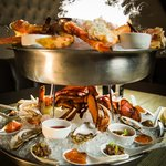 Rush Seafood Tower: shrimp, tuna poke, oysters, dungeness & king crab, smoked salmon, lobster.