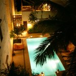 """The pool area in the evening - view from room """"Juu"""""""