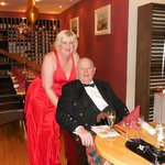 My wife and I at the New Years Eve Dinner in the Courtyard Restaurant