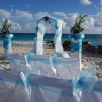 the ceremony set up on the beach