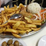 Roasted chicken with fries and rice