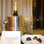 complimentary champagne and chocolate