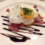 Bacon, bubble and squeak and hens egg starter