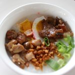 my favorite at breakfast, congee rice porriage with the toppings