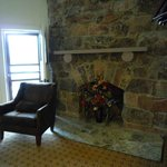 Decorative stone fireplace, Room #158