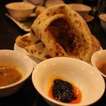 roti and 3 dipping sauce