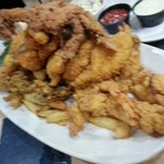Seafood platter...half size, so you can imagine how much is on the large platter.