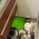 Kitchen -- mixing bowl, grater, pots