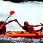 Double Kayak having a blast
