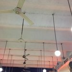 Old ceiling full with fans/ventilators.