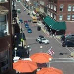 View of Main St and Hotel veranda from our room