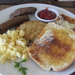 Combination breakfast menu items (already started eating sausage before pic taken)